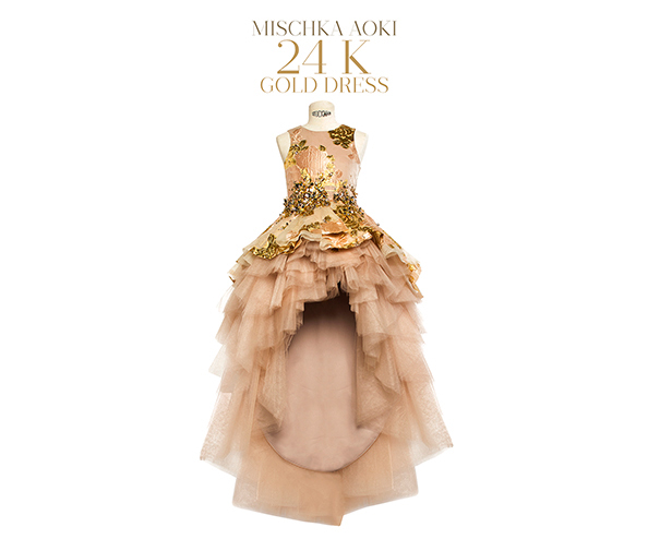 Mischka Aoki One of a Kind 24 Karat Gold Dress, adorned with genuine 24 Karat gold flowers and hundreds of Swarovski Crystals. - £59,000 Sold Exclusively at ...